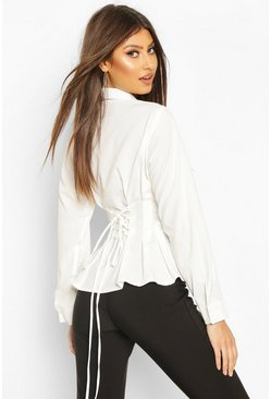 Ivory Cotton Ruched Waist Shirt