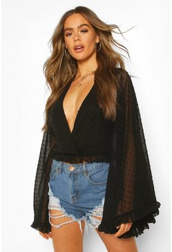 Black Dobby Chiffon Flared Sleeve Top