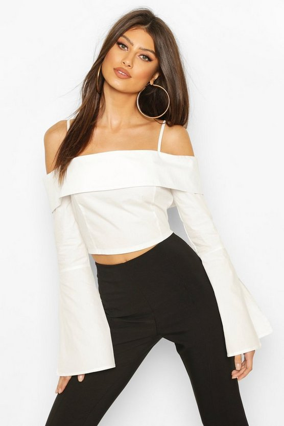 White Cotton Cold Shoulder Flared Cuff Top