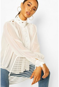 Ivory Lace Trim Detail Blouson Shirt