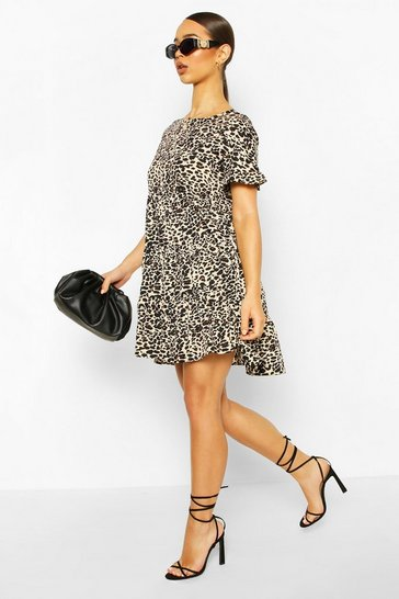 Brown Leopard Print Ruffle Sleeve Smock Dress