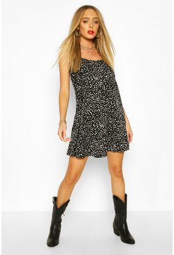 Black Polka Dot Cami Slip Swing Dress