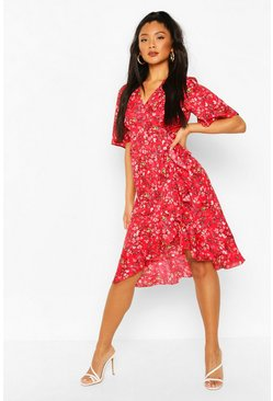 Red Ditsy Floral Ruffle Midi Tea Dress