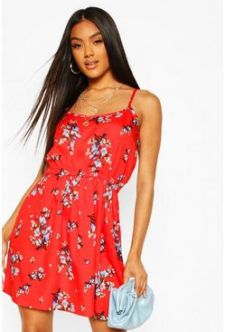 Red Floral Strappy Sundress