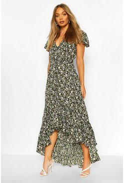 Black Floral Button Detail Drop Hem Maxi Dress
