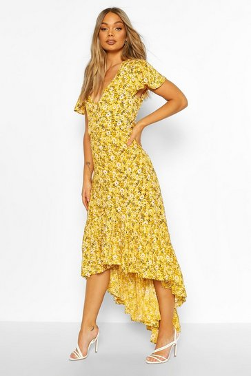 Yellow Floral Button Detail Drop Hem Maxi Dress