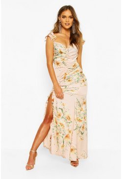 Floral Frill Strappy Sleeve Ruched Seam Split Maxi, Pink