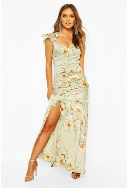 Sage Floral Frill Strappy Sleeve Ruched Seam Split Maxi
