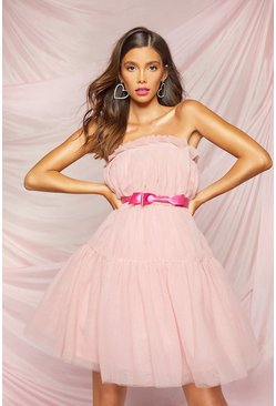 Extreme Pleated Puff Skater Dress, Pink