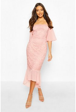 Pink Mesh Frill Sleeve Lace Bodycon Midi Dress