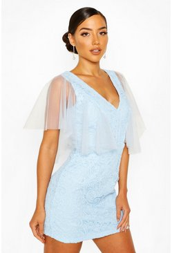 Cornflower blue Heavy Lace Mesh Detail Mini Dress