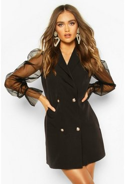 Black Organza Sleeve Button Detail Blazer Dress