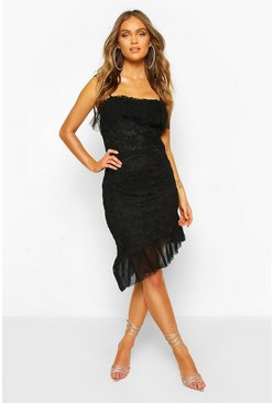 Strappy Lace Mesh Frill Hem Mini Dress, Black