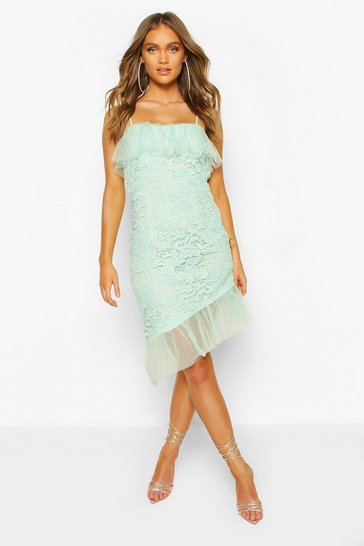 Mint Strappy Lace Mesh Frill Hem Mini Dress