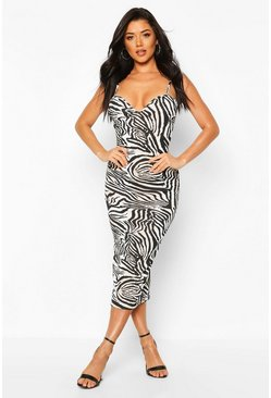 Zebra Plunge Midaxi Dress, Black