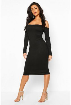 Black Jumbo Rib Off The Shoulder Midi