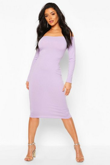 Lilac grey Jumbo Rib Off The Shoulder Midi
