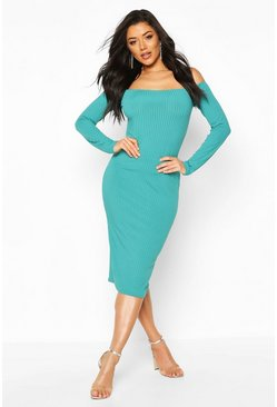 Teal Jumbo Rib Off The Shoulder Midi