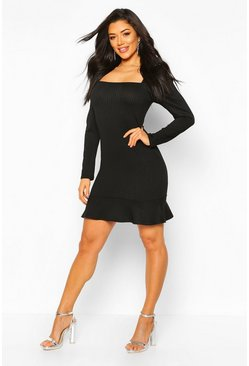 Black Jumbo Rib Square Neck Frill Hem Skater Dress