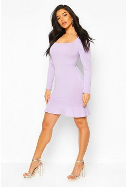 Lilac Jumbo Rib Square Neck Frill Hem Skater Dress