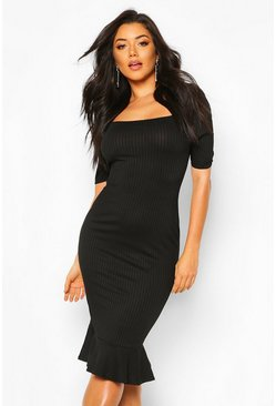 Black Jumbo Rib Peplum Hem Midi Dress