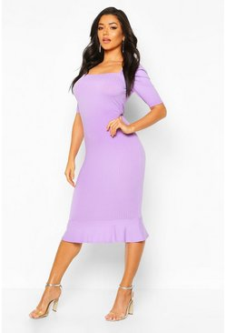Lilac grey Jumbo Rib Peplum Hem Midi Dress