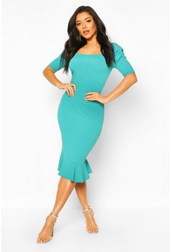 Teal Jumbo Rib Peplum Hem Midi Dress