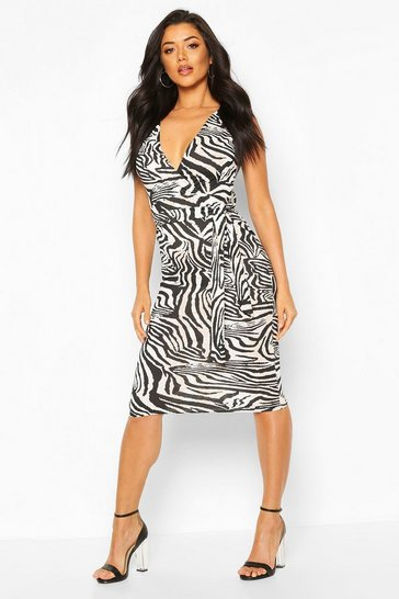 Black Zebra Off The Shoulder Belt Midi Dress