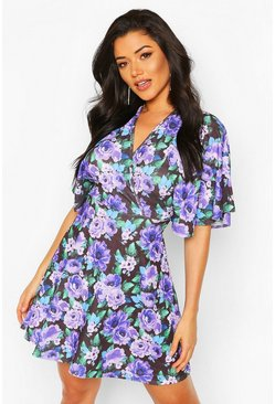 Purple Floral Angel Sleeve Skater Dress