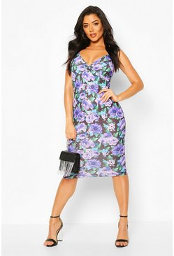Purple Floral Wrap Midi Dress