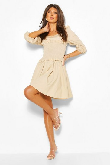 Stone Shirred Detail Puff Sleeve Dress