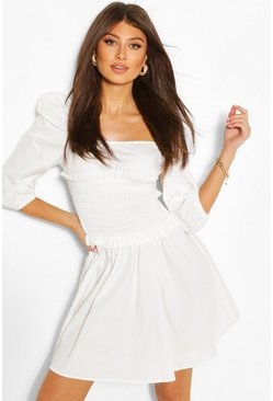 White Shirred Detail Puff Sleeve Dress
