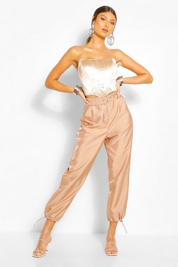 Camel Buckle Detail Belted Trousers