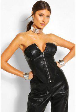 Faux Leather Corset, Black