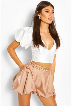 White Puff Sleeve Woven Crop Top