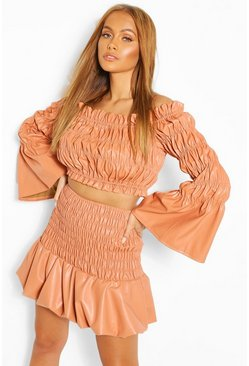 Orange Faux Leather Shirred Off The Shoulder Top