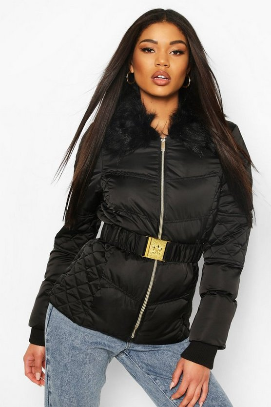 Black Belted Quilted Detail Faux Fur Trim Puffer