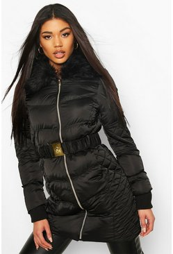 Black Quilted Detail Belted Faux Fur Trim Puffer