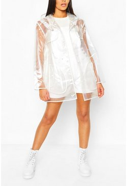Pearl Trim Transparent Rain Mac