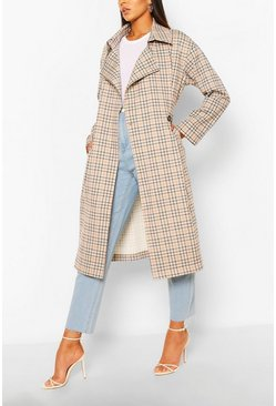 Multi Check Double Breasted Belted Trench
