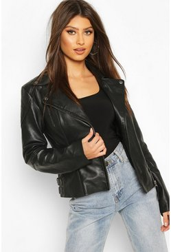 Black Zip Detail Real Leather Biker Jacket