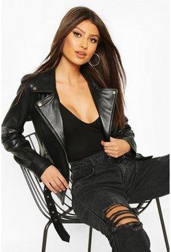 Black Pocket Detail Real Leather Biker Jacket