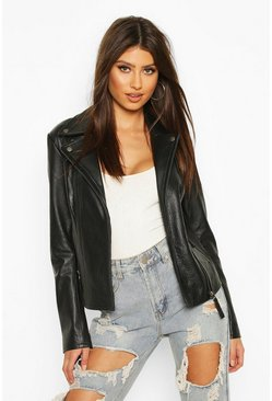 Black Real Leather Collared Biker Jacket