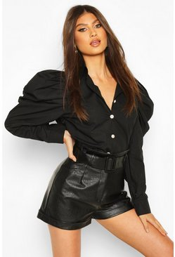 Black Pearl Button Puff Sleeve Shirt