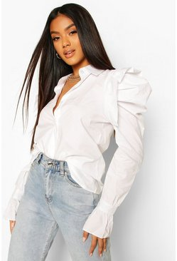 White Extreme Puff Shoulder Shirt