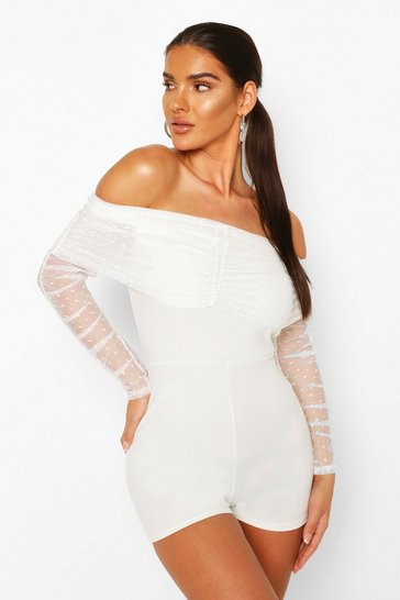 Ivory Off The Shoulder Dobby Mesh Sleeve Playsuit