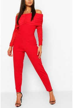 Red Off The Shoulder Mesh Sleeve Skinny Leg Jumpsuit