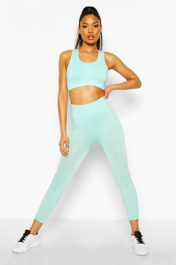 Aqua Fit Rib Seamfree 3/4 Gym Leggings