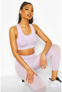 Lilac Fit Rib Seamfree 3/4 Gym Leggings