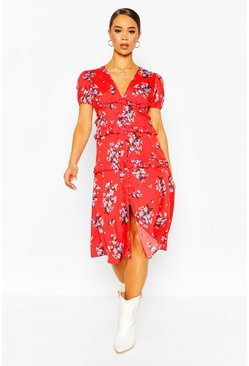Red Floral Ruffle Midaxi Dress